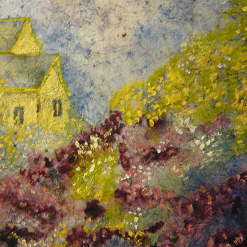 Impressionist Landscape Giclee Print From Original Watercolor Batik Painting, Purple-Yellow. Choose Size