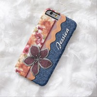 Your Name Colorful Chic Watercolor Floral Pattern Blue Denim Jeans iPhone 6 Case