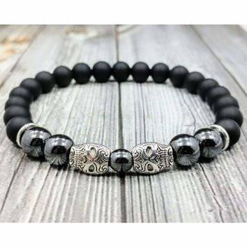 "8""L MEXICAN SUGAR SKULLS 8mm Black Onyx+Hematite Gemstone Beaded Men's Bracelet"