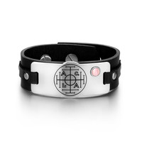 Fortune Wealth and Success Magic Circle Amulet Pink Simulated Cats Eye Adjustable Black Leather Bracelet
