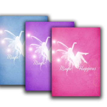 Magic happens - Typographic print - fairy poster -Girl room decor - Art print - Modern art - inspirational quote - Quote poster