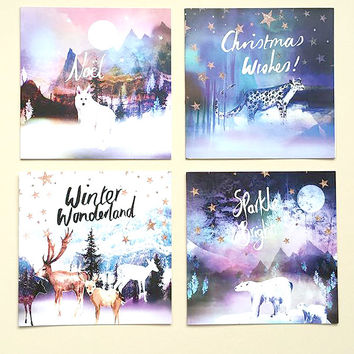 Set of 4 Christmas Cards by Nikki Strange