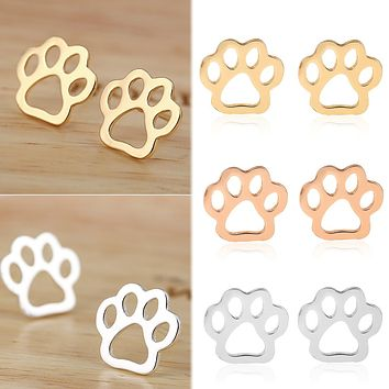 1 Pair Vintage Hollow Cat Dog Paw Stud Earrings