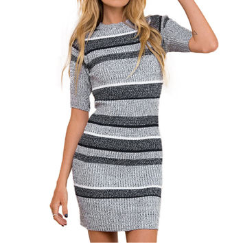 Women Knitted Striped Dress Bodycon Half Sleeve Ribbed Stretchy Long Sweater Jumper Dress Dark Blue Ladies Fall Dress SM6