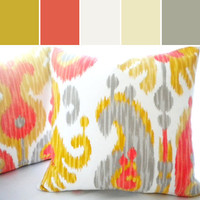 yellow grey Ikat pillow cover, FABRIC BOTH SIDES Multi color Ikat pillow cover, available all sizes, yellow pillow cover