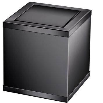 Black Square Extra Small Countertop Wastebasket Trash Can W/ Swing Lid, Solid Brass