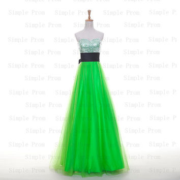 Custom A-line Sweetheart Floor-length Sleeveless Tulle Sequins Long Prom Dress Bridesmaid Dress Formal Evening Dress Party Dress 2013