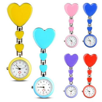 New Heart Shape Pendant Clip-On Brooch Fob Pocket Analog Quartz Nurse Watch [8322868993]