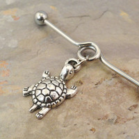 Turtle Industrial Barbell Piercing Upper Ear Ring
