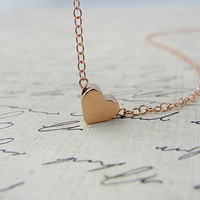 Rose gold heart necklace - rose gold necklace with rose gold heart