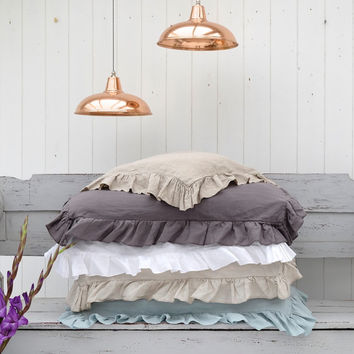 Ruffled Linen Pillowcase. Pair of French Flax Washed  Linen Pillowcases by Oscar and French