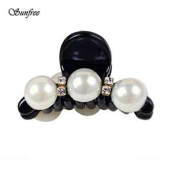 Sunfree 2016 New Fashion Women Lady Pearl Crystal Hair Clip Clamp Claw Hair Accessory Brand New and High Quality Nov 11