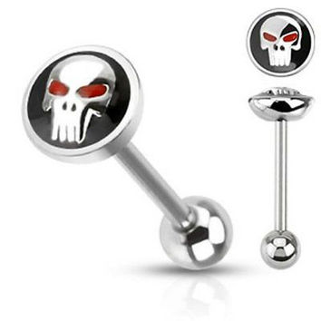 Skull in Black Tongue Ring 14ga Surgical Steel Barbell