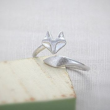 Adjustable Fox Ring in Sterling Silver or Gold