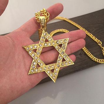 """Star Of David With Zirconia Stones- Large 2.75"""" + Chain."""