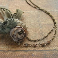 petite bouquet necklace - ash rose - hand dyed - antiqued rose necklace, shabby chic necklace, rustic colors, boho, tattered necklace