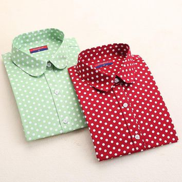 New Casual Blue Red Polka Dot Shirt Women Long Sleeve Blouse Cotton Plus Size Women Tops Turn-Down Collar Fashion Women Blouses