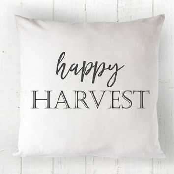 Happy Harvest Pillow Cover - Fall Pillow, Farmhouse Decor, Black and White Fall Decor, Farmhouse Pillow, 16 x 16, 18 x 18, 20 x 20