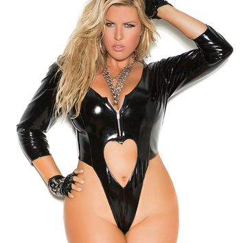 Plus Size Zipped Vinyl Teddy