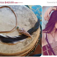 ON SALE NOW she walks with wind.. arrowhead and agate feather necklace