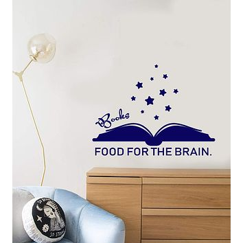 Vinyl Wall Decal Quote Words Books Food For The Brain Kid's Room Decor Stickers (2906ig)
