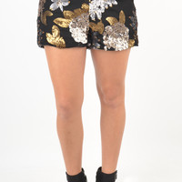 Gold and Pewter Sequin Floral Design Shorts