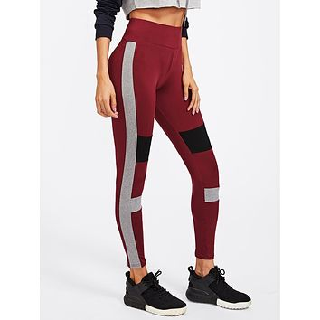 Color Block Cut And Sew Leggings Multi