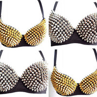Fashion Women Metallic Gathers Underwire Punk Spike Studs Rivet Push Up Club Bra