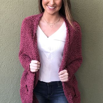 Movie Date Cardigan- Garnet