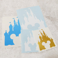 5x4 Inch Disney's Magic Kingdom Cinderella's Castle Mickey Mouse Cut Out Graphic Permanent Vinyl Decal/Bumper Sticker