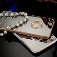 New Luxury Mirror Electroplating Dual Colors Diamond phone cases for iphone 6 4.7'' phone back cover with logo window Free ship