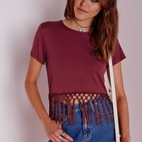 Missguided - Fringe Hem T Shirt Burgundy