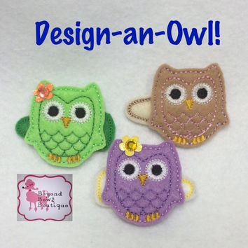 Cute Owl baby hair clip, custom colors and embellishments, toddler hairclip, embroidered felt hair clip, spring, summer, design your own owl