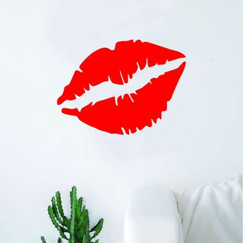 Red Lips Wall Decal Decor Art Sticker Vinyl Room Bedroom Home Teen Inspirational Girls Teen Make Up Beauty Lipstick Cute Beautiful