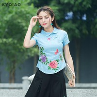 KYQIAO Mori girls summer bohemian ethnic short sleeve peter pan collar blue pink white floral embroidery blouse shirt blusa