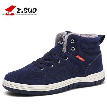 Men Winter Snow Boots Keep Warm Casual Boots Blue Plush Ankle Boots Black Suede Leather Winter Shoes With Fur