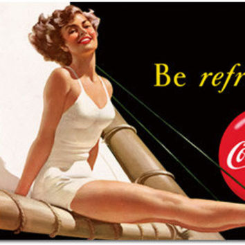 Coca-Cola Be Refreshed Pin Up Girl Tin Signs Coke Advertisement Sign RetroPlanet.com