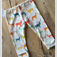 Baby Children Handmade Organic Jersey Knit Birch Fabrics Elk Grove Leggings Pants