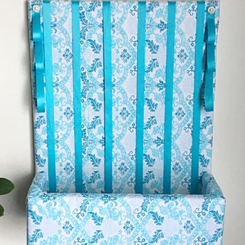 Hair Bow Holder with Shelf ~ Blue Hair Bow Organizer, Hair Accessories Organizer, 16x20 inch Hair Bow Holder