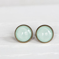 Dusty Mint Glass Earrings- Antique Bronze Stud Earrings