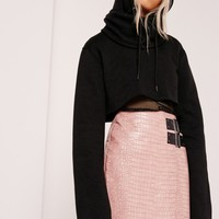 Missguided - Cropped Extreme Sleeve Hoodie Black