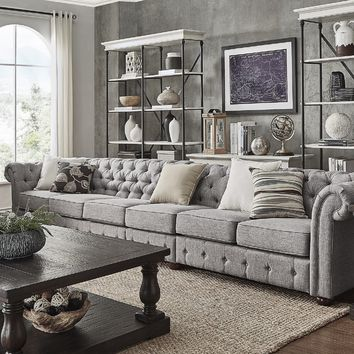 Knightsbridge Grey Linen Oversize Extra Long Modular Sectional Sofa Extension by SIGNAL HILLS | Overstock.com Shopping - The Best Deals on Sectional Sofas