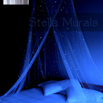 Glow in the Dark Stella Murals Star Canopy - WHITE - surround your bed with stars!