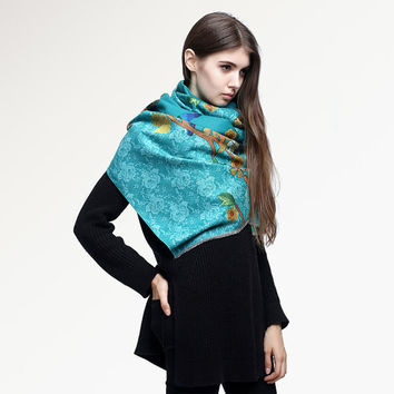 MAC&LOU Cashmere and Silk Scarf Oversized Long Large Shawl Stole Wrap Peacock Trees Flowers Colorful Print Elegant Teal