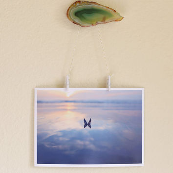 Mussel Beach Butterfly Photography - Sunset Landscape- California, Beach, Photo, Pastel, Peaceful