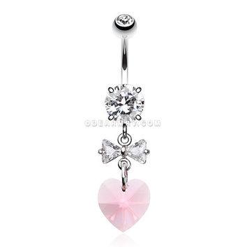 Prism Heart Bow-Tie Belly Button Ring (Clear/Pink)
