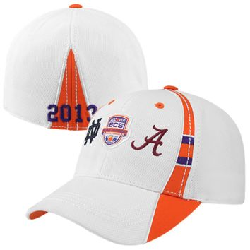 Top of the World Alabama Crimson Tide vs. Notre Dame Fighting Irish 2013 BCS National Championship Game Dueling One-Fit Hat - White - http://www.shareasale.com/m-pr.cfm?merchantID=7124&userID=1042934&productID=525671316 / Alabama Crimson Tide