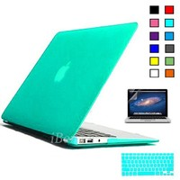 "iBenzer Macbook Air 13"" Plastic Hard Case, Keyboard Cover, Screen Protector, Turquoise"