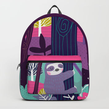 Sloth in the woods Backpacks by Maria Jose Da Luz