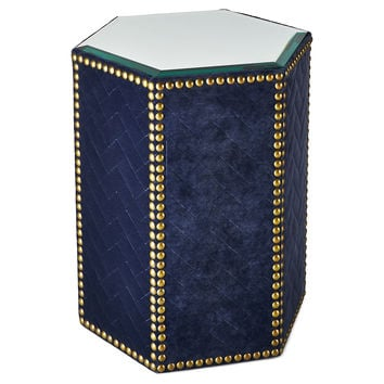Taylor Burke Home, Blake Mirrored Side Table, Navy, Standard Stools